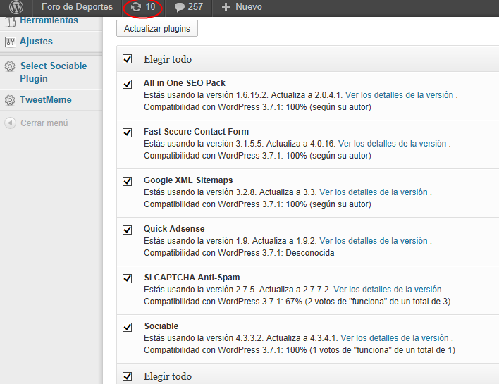 actualizar wordpress