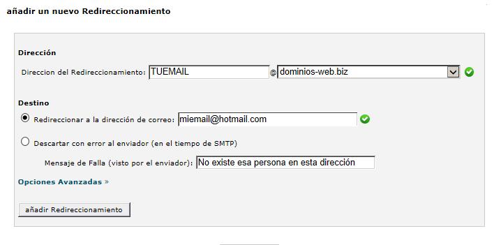 añadir redirección de email