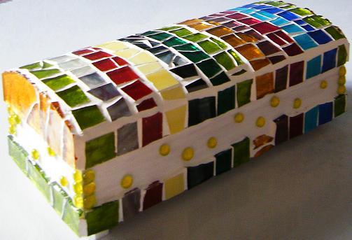 caja, mosaico, vidrio