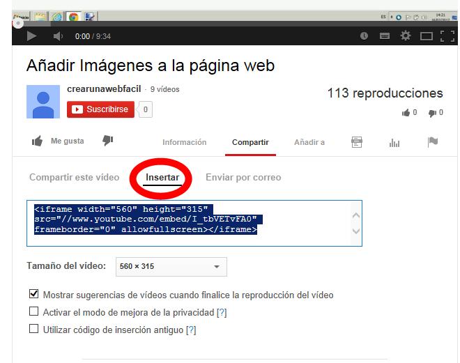 añadir un video de youtube en la web